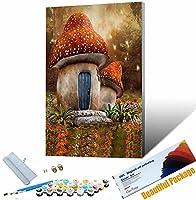 番号でペイント 植物-きのこ 大人と子供のための番号でペイントDIY油絵ギ ート家の装飾 30x45cm フレームレス