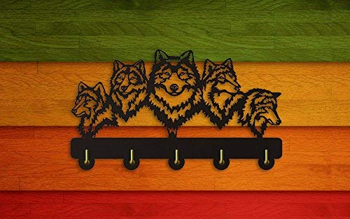 Wildlife Wolf Decorative Wall Hanger Wolf Family Clothes Wall Hooks Coat Rack Keys Holder Organizer Hook Animal Decorative Wall Hooks Hanger Handbag Keyring Holder (3)