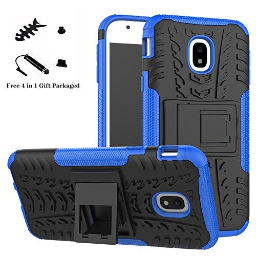 LiuShan Galaxy J3 2017 Funda, Heavy Duty Silicona Híbrida Rugged Armor Soporte Cáscara de Cubierta Protectora de Doble Capa Caso para Samsung Galaxy J3 2017 (5,0 Pulgadas SM-J330F),Azul