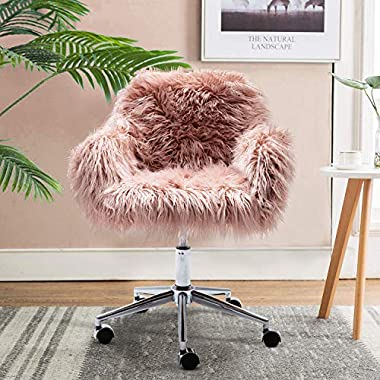 DKLGG Faux Fur Desk Chair, Cute Fluffy Upholstered Padded Seat, Vanity Accent Modern Height Adjustable Swivel Arm…