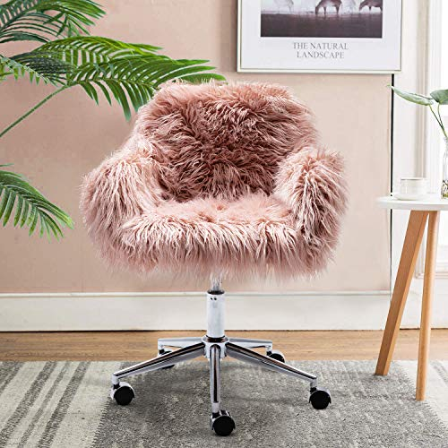 DKLGG Faux Fur Desk Chair, Cute Fluffy Upholstered Padded Seat, Vanity Accent Modern Height Adjustable Swivel Arm Decorative Furniture for Living Room/Makeup/Home Office/Teen Girls Bedroom, Pink