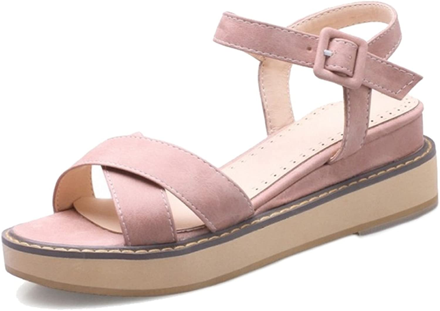 Smilice Sandals with Thick Platform and Nubuck Materail Casual Women Sandals for Fashion Women