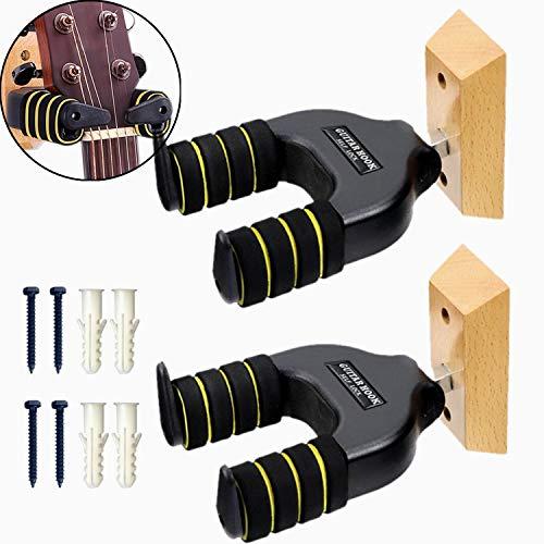 Miwayer Soporte de pared para guitarra, 2 unidades, bloqueo automático, base de madera, seguro contra la vibración para guitarra acústica, eléctrica, clásica, bajo