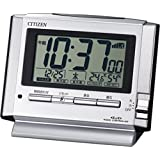 シチズン 目覚まし時計 電波 デジタル パルデジットユーイ 温度 湿度 カレンダー 表示 銀色 CITIZEN 8RZ134-019