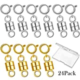 24 Pieces Magnetic Clasp Necklace Clasp and Closures Magnetic Clasp Converter Chain Extenders for Jewelry Necklace Bracelet (Gold, Silver)
