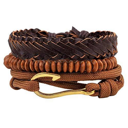 Armband Vintage Houten Kralen Handgemaakte Touw Gevlochten Vishaak Bedel Mannen Sieraden Armband