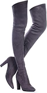 Women Stretch Suede Chunky Heel Thigh High Over The Knee Boots