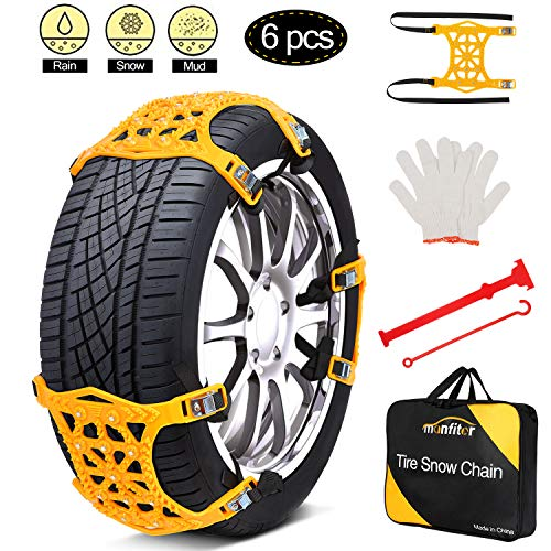 """Snow Chains, Anti Slip Snow Chains for SUV/Cars/Trucks/ATV Adjustable Anti-Skid Emergency Tire Straps, 6 Pcs Snow tire Chains, Suitable for Tire Width 6.5""""-10.8""""(165mm-275mm), Car Chains for Snow"""
