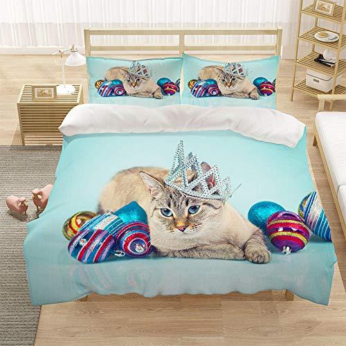 Bedclothes-Blanket Cubierta de la Cubierta del edredón para niños 3D Cubierta de Cama de 3 Piezas Super King Tamaño Animal Cat Blue Eye Eye Eye Funda de Cama con Cierre de cremallera-10_220 * 260cm