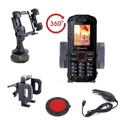 DURAGADGET Support Voiture 3 en 1 Complet pour Crosscall Trekker X2, S1, M1 et M1 Core Smartphones étanches - Rotatif 360° + Chargeur Bonus