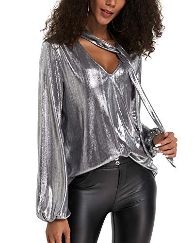YOINS Women Long Sleeve V Neck Top Metallic Blouses Casual Sexy Cut Out Lantern Sleeves Shirts Club Party, Silver, XL