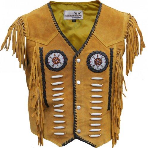 Western-Lederweste Indianer Tracht Weste Reiter Jacke Karneval Ocker, Größe:54