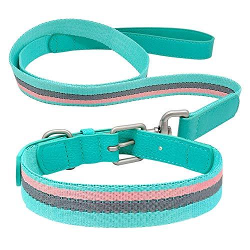 Reflecterende Halsband En Riem Set Lederen Verstelbare Halsbanden Designer Puppy Strip Leidt Touw Voor Kleine Middelgrote Grote Honden, Groen, S