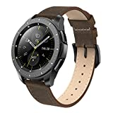 SWEES Genuine Leather Band Compatible for Galaxy Watch 42mm & Gear S2 Classic & Gear Sport, 20mm Learther Bands with Quick Release for Galaxy Watch Active 2 Smart Watch 2019 Women Men, Retro Brown