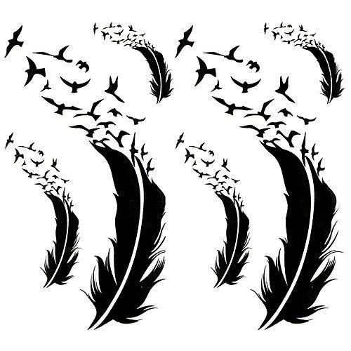 Oottati Small Cute Temporary Tattoo Black Feather Birds (2 Sheets)