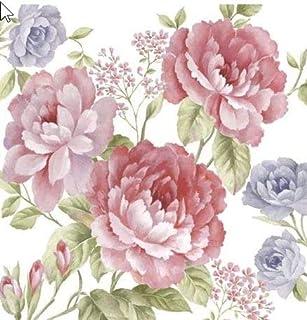 20 servetten rozenwereld paars/roze/bloemen/rozen 33x33cm