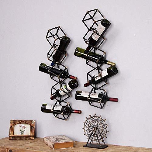 Simple Y Creativo Cubo Forma Hueca Negro Retro Antiguo Hierro Forjado Estante Del Vino Restaurante Bar Decoración de la Pared Estante Del Vino Americano Hogar Sala de Estar Decoración Regalo de Boda