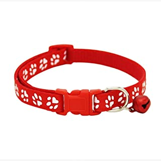 Adjustable Cat Collar Cute Pet Collar with Removable bell for Cats Small Dogs Red