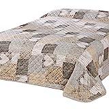 Delindo Lifestyle Couvre-lit COEUR, 1 personne pour chambre à coucher, Jeté de Lit, pour lit simple, patchwork marron, 140x210 cm