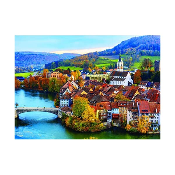 1000 Piece Puzzle for Adults: Swiss River Village Jigsaw Puzzle