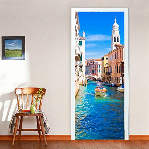 MACHINE BOY Removable Door Sticker Prosperous Scene of a Water Town Wallpaper for Bedroom Living Room Mural Home Decor Size 90 * 200cm