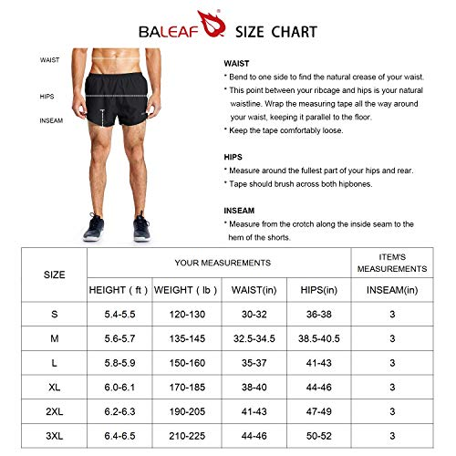 BALEAF Men's 3 Inches Running Shorts Quick Dry Gym Athletic Shorts Gray Size M