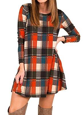 Mesitelin Women Long Sleeve Plaid Tunic Dress Casual Swing T Shirt Dress with Pockets