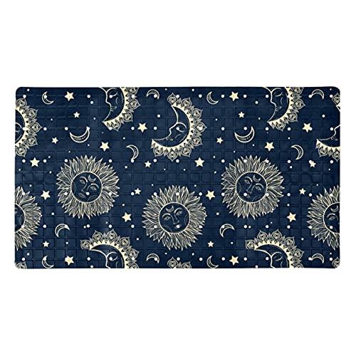 FURINKAZAN Alfombra de baño con diseño de estrellas de luna celestial, antideslizante, con agujeros de drenaje