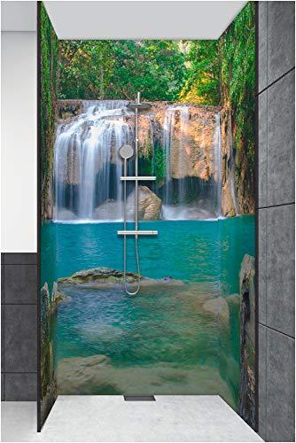 Artland Duschrückwand Eck mit Motiv Fliesenersatz Alu Rückwand Dusche Duschwand Bad 3 Segmente Wunschmaß Natur Wald Dschungel Wasserfall Grün S6CI