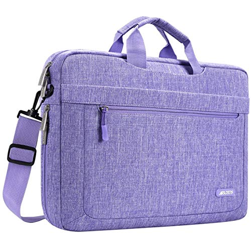 MOSISO Laptop Shoulder Bag Compatible with MacBook Pro 16 inch A2141, 15-15.6 inch MacBook Pro, Notebook, Polyester Messenger Carrying Briefcase Sleeve with Adjustable Depth at Bottom, Purple