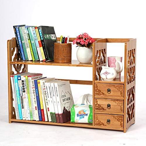 Bücherregal Desktop Bookshelf, natürlicher Bambus-Tischablage-Regal Stand-Organisator mit 3 F ern, für Büro-Zuhause, 2 Farben