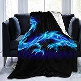 BXBX Jeté de Couverture en Polaire, Dragon Blue Fire Women 's' s Throw Blanket Couverture en Molleton en Peluche Jeté Fuzzy pour Toutes Les Saisons, Hommes et Femmes