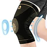 Professional Knee Support Brace for Men and Women, Breathable Knee Compression sleeve with Gel Pads for Knee Protection, Knee Pain, Arthritis, Running, Workout, Meniscus Tear, Sports (Copper, Medium)