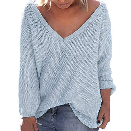 OSYARD Damen Sweater Oberseiten Sweatshirt Pullover, Frauen Pulli Tunika Hemd Lange Hülsen V-Ausschnitt Strickpullover Oberteile Große Größe Lose Bluse Tops T-Shirt Mode Cardigan(S, Blau)