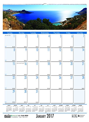 "House of Doolittle 2017 Monthly Wall Calendar, Earthscapes Coastlines, 12 x 16.5"" (HOD329-17)"
