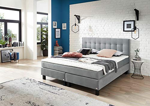 ROCKSTAR® Limited Edition II in donkergrijs of lichtgrijs van Welcon - boxspringbed 180x200 cm hardheid H2 (medium) of H3 (hard) met pocketvering, koudschuim topper, gestoffeerd bed - echtbed - boxspringbed