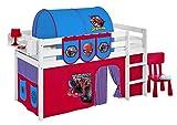 Spielbett JELLE 90 x 190 cm Spiderman - Hochbett LILOKIDS - weiß - mit Vorhang