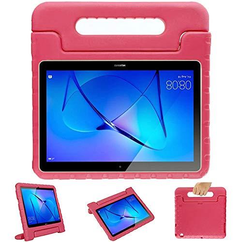 GOZOPO Compatible con Huawei T3 10 Kids Case, a prueba de golpes, ligero, con mango para niños, funda protectora para Huawei Mediapad T3 de 10 a 9.6 pulgadas (rosa)
