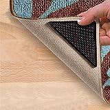 Xrmai 8 Pcs Rug Gripper, Non Slip Washable Rug Tape, Reusable Carpets Tape for Area Rugs Underlay, Floor Mats, Hardwood Floors