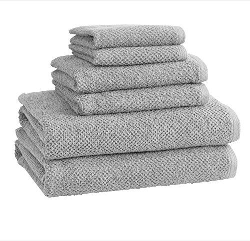100% Cotton Bath Towels, Luxury 6 Piece Set - 2 Bath Towels, 2 Hand Towels and 2 Washcloths. Quick-Dry, Absorbent Textured Popcorn Weave Towels. Acacia Collection (6 Piece Set, Light Grey)