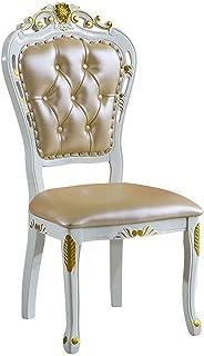 ZJN-JN Silla Sillas de comedor contador de cocina de madera sólida tallada hoja de oro Comer Arte de la Piel Silla Silla de comedor de estilo americano Asamblea simple 2 Piezas Negro (Color: Oro, Tama