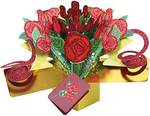 3D-Papier Pop Up Muttertag Grußkarte Valentinstag Geschenk mit goldrosa Rosen für Dankeskarte, Geburtstagskarte, Jubiläumskarte, Weihnachtskarten Plztou