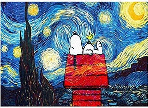 N\A Puzzle Puzzle 1000 Stück für Erwachsene Puzzle 3D Holz Klassisches Puzzle Snoopy Under The Stars Landschaft DIY Collectibles Moderne Wohnkultur 75x50cm HUAHUA00