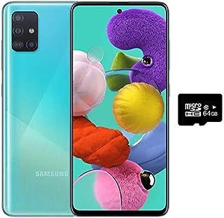 """Samsung Galaxy A51 (128GB, 4GB) 6.5"""", 48MP Quad Camera, Dual SIM GSM ONLY Unlocked A515F/DS- US + Global 4G LTE International Model (Prism Crush Blue, 64GB SD + Case Bundle)"""