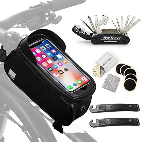 Lixada Bolsa de Movil Bicicleta Manillar Impermeable con Pantalla Táctil Portátil Bolsa de Reparación de Bicicletas Bolsa de Marco Frontal