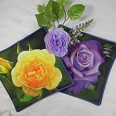 Quilted Trivets (2) set #1 - Roses Purple and Yellow