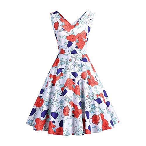 YYH Damen Kleid Sexy V-Ausschnitt-Partei-Sleeveless Kleid Retro 1950er Tutu-Kleid Cocktailkleid,H,M