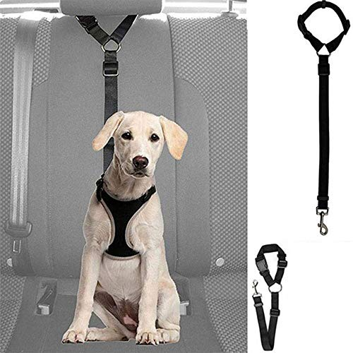 LCK Adjustable Puppy Seat Safety Belt Harness Car Dog Safety Rope Leash Leads Safety Belt Pet Seatbelt for Vehicle,One Size