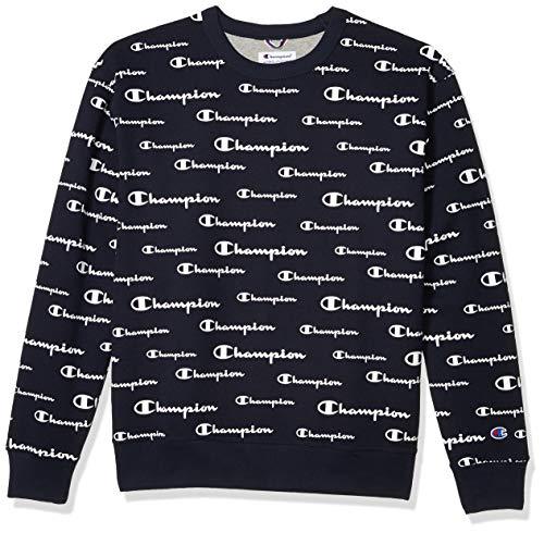 Champion Herren Powerblend AOP Crew Sweatshirt, Solid Scripts Navy, XX-Large