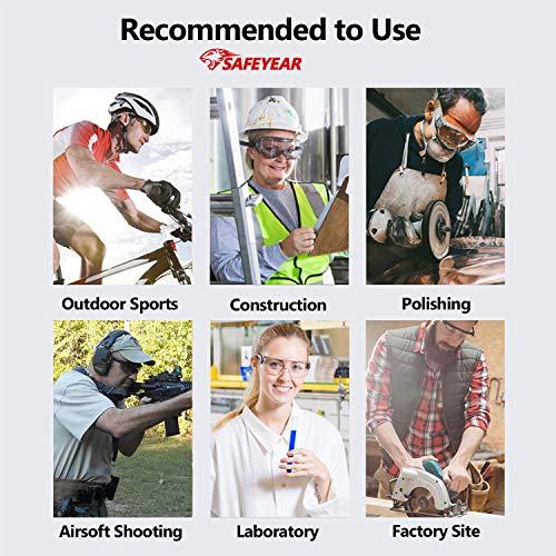 SAFEYEAR Schutzbrille Arbeitsbrille für Brillenträger - SG007 mit Seitenschutz und Rutschfesten Bügeln UV-Schutz mit Lüftung Gartenarbeit (Transparent) - 6